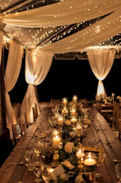 Mini wedding: decoração da mesa com velas