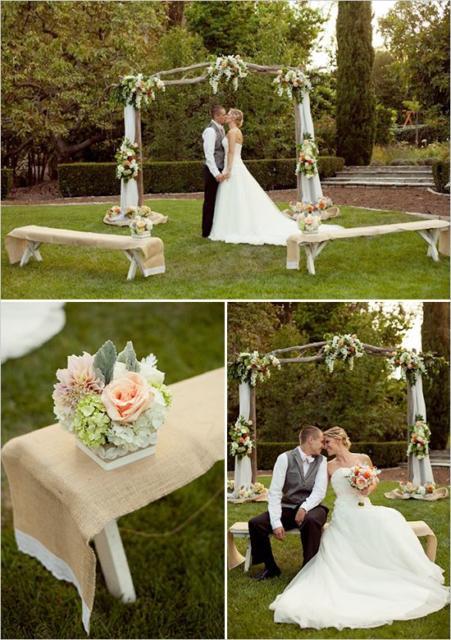 Mini wedding: decoração de cerimonia com arranjo de flores