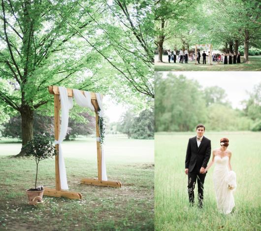 Mini wedding: decoração de cerimonia no campo com arco de madeira