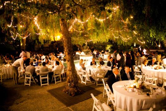 Mini wedding: decoração rústica com varal de lâmpadas