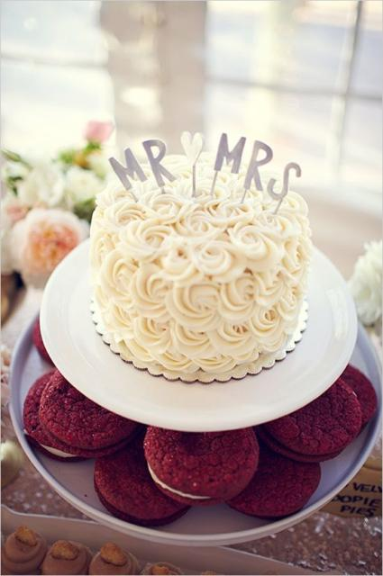 Mini wedding: bolo decorado com chantilly