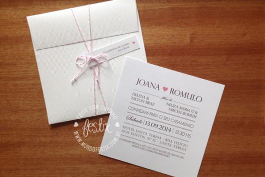 Mini wedding: convite branco
