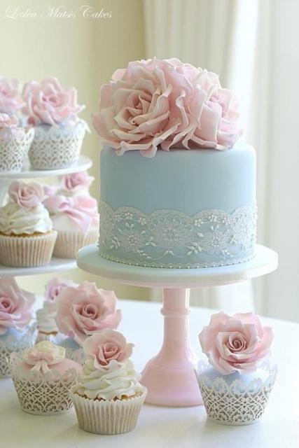 Mini wedding: bolo azul