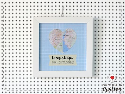 Surpresa para namorada: quadro com mapa em formarto de coração