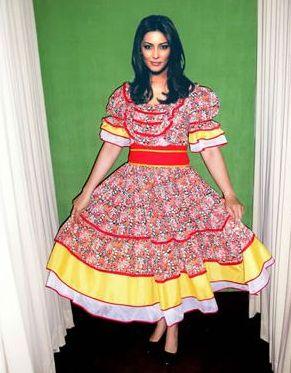 Vestido de festa junina: longo