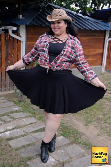 Vestido de festa junina: plus size preto