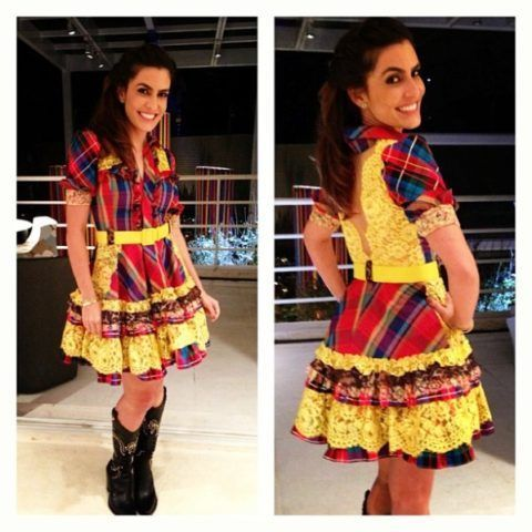 Vestido de festa junina: curto com detalhes amarelos
