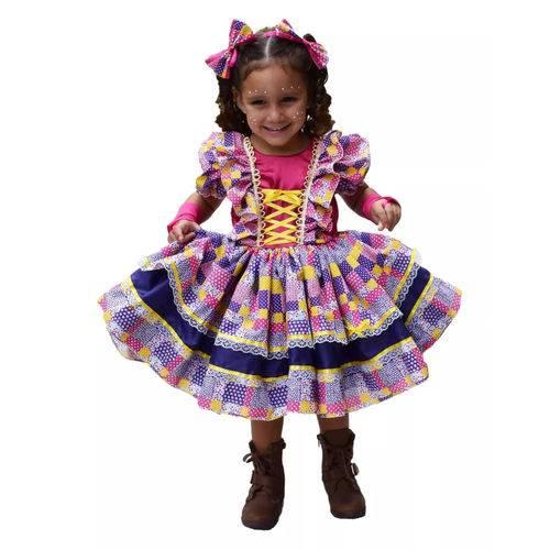 Vestido de festa junina: infantil lilás