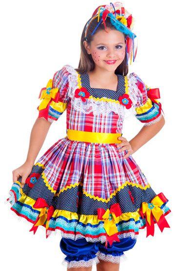 Vestido de festa junina: infantil com fita amarela