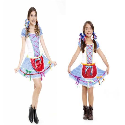 Vestido de festa junina: mãe e filha azul