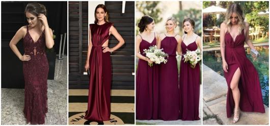 98e982160a Vestido de Madrinha Marsala – 74 Ideias de modelos espetaculares!