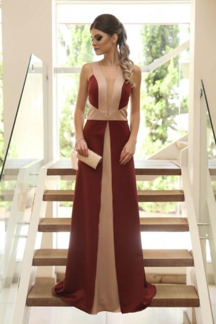 vestido marsala e nude