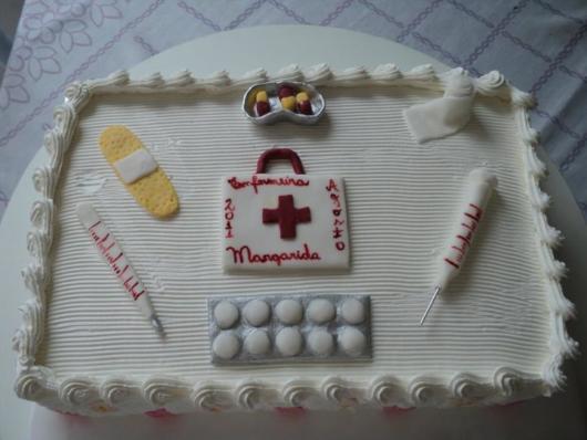 Chantilly para decorar o bolo quadrado de enfermagem