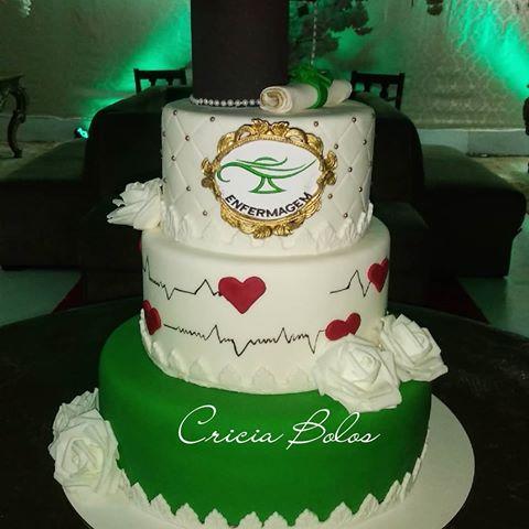 bolo verde para formatura de enfermeiros