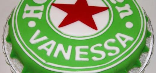 bolo Heineken de pasta americana