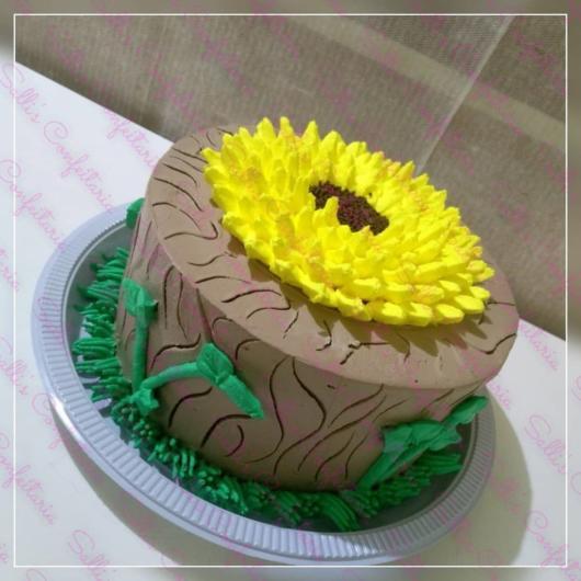 Dica de decoração de bolo girassol de 1 andar
