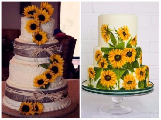 Duas opções de bolos grandes girassol