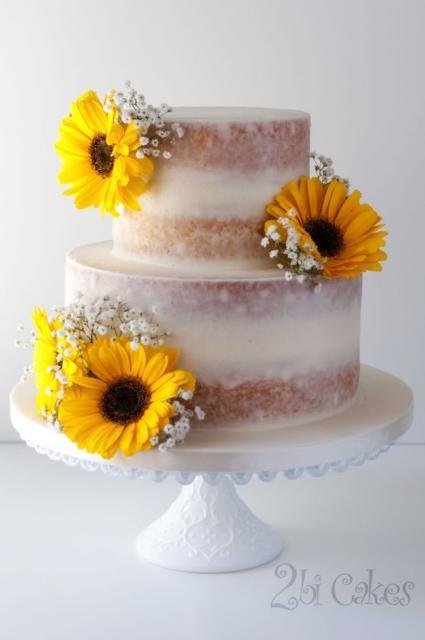 Bolo lindo de casamento com girassois