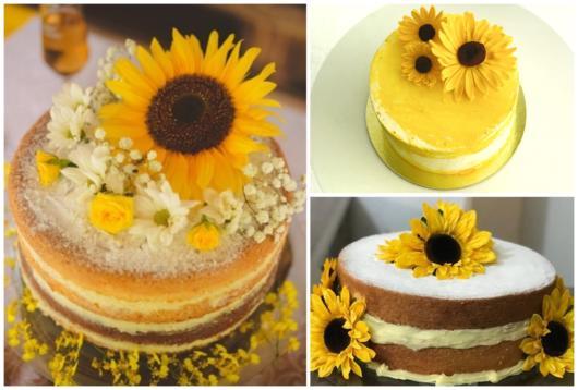 três bolos com tema girassol