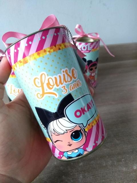 Lembrancinha de lata de leite da LOL