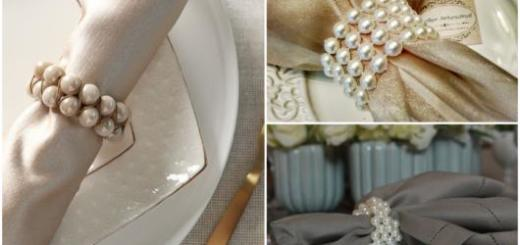 Portas-guardanapos para mesa de jantar com pérolas