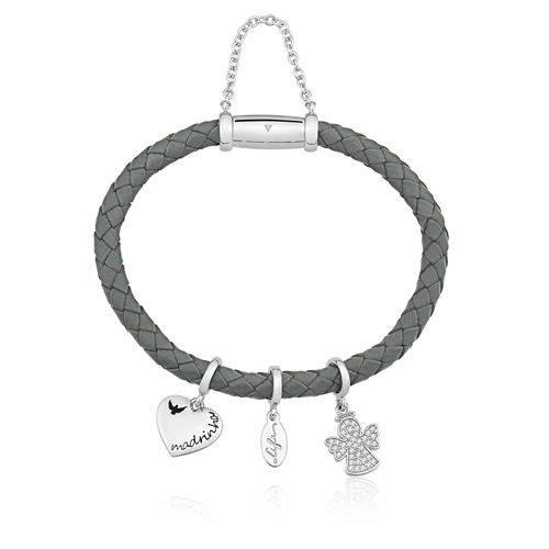 pulseira cinza com três pingentes