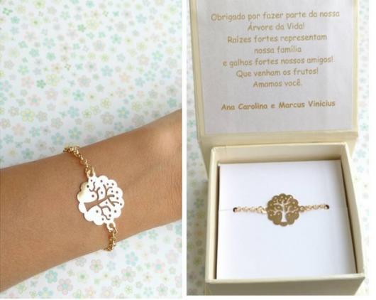 convite madrinha com um pulseira de presente