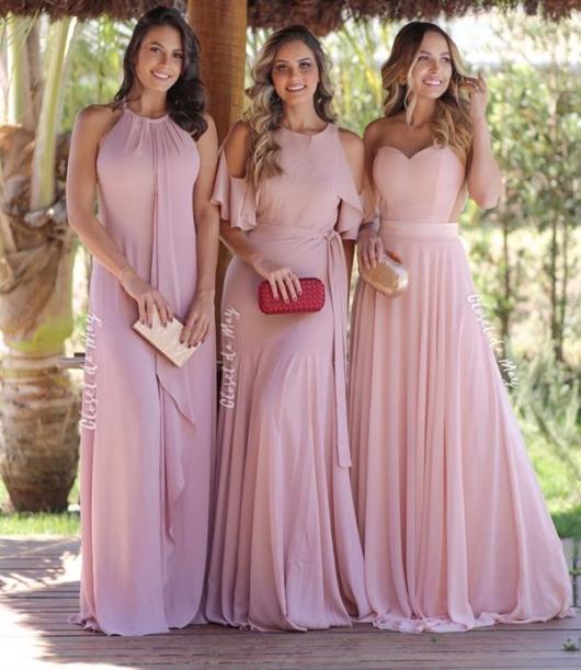 Vestido rosa bebê de festa para madrinhas
