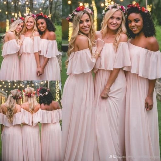 Vestidos rosas com estilo hippie para casamento