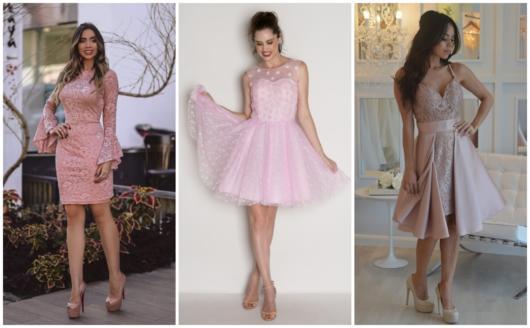 vestidos curtos para madrinhas tons de rosa