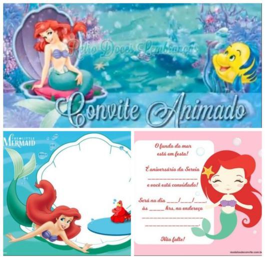 Montagem com convites Pequena Sereia com imagens da Ariel.