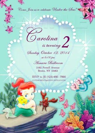 Convite baby verde com Ariel e outros personagens.