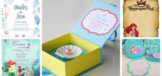 Montagem com cinco exemplos de Convites Pequena Sereia.
