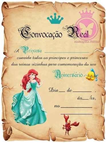 Convite Ariel com campos em branco.