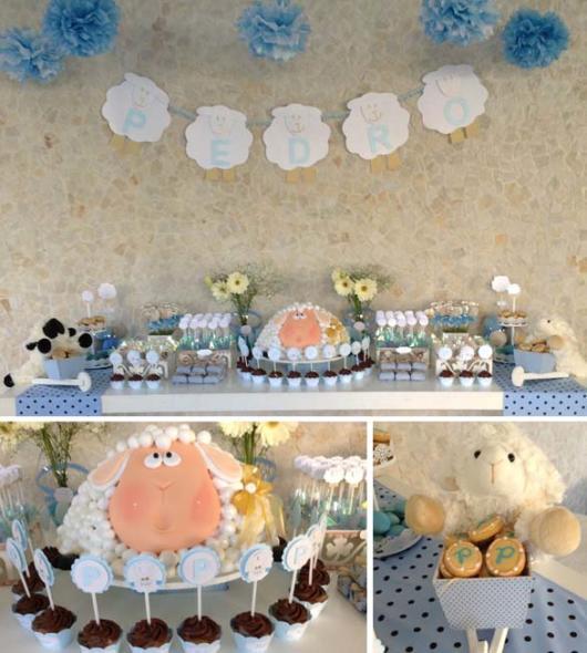 Decoração azul de festa ovelhinha