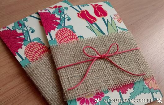 convite primavera com tecido feito à mão