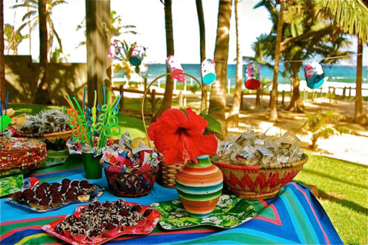 Comidinhas em festa na praia