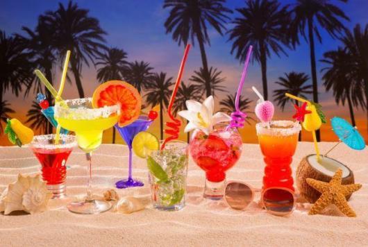 Bebidas para servir na praia
