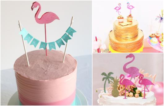 topos de bolo de flamingo