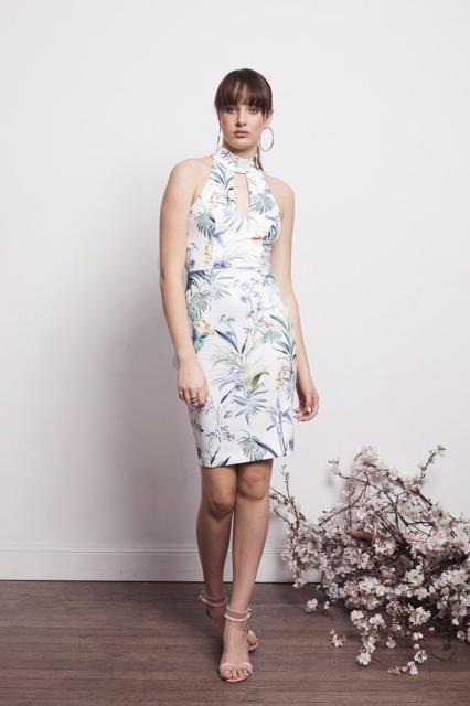 vestido de festa estampado floram com gola alta