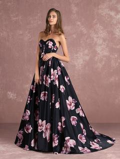 vestido de festa estampado longo de cetim