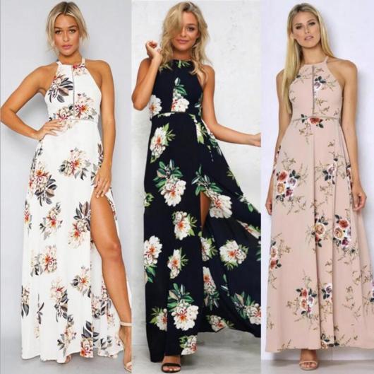 vestido de festa estampado longo com flores