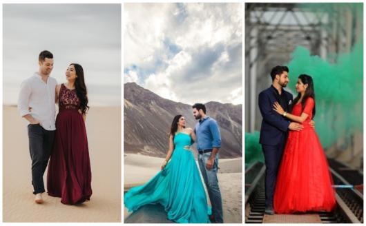 vestidos coloridos para pré-wedding