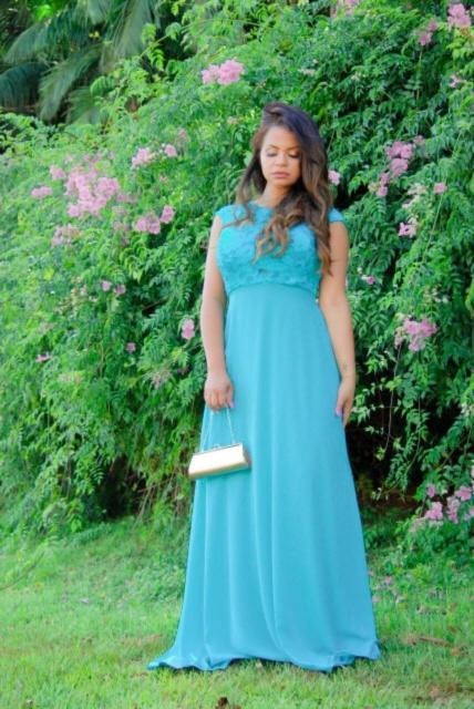 Vestido para ensaio pré-wedding azul