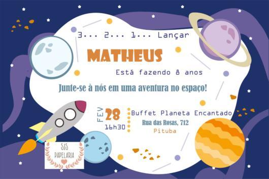Convite astronauta para aniversário infantil