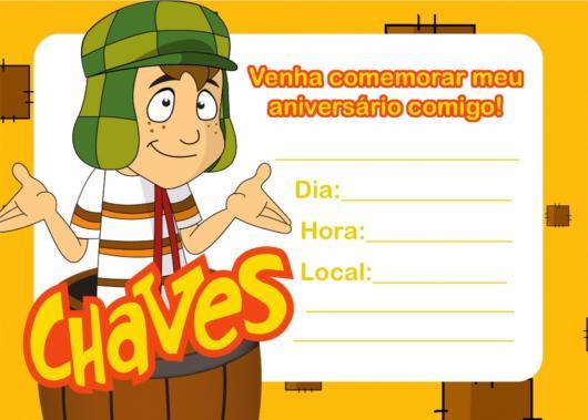 Convite do Chaves com campos para preenchimento de data e hora.