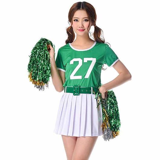 Fantasia líder de torcida: verde com saia branca