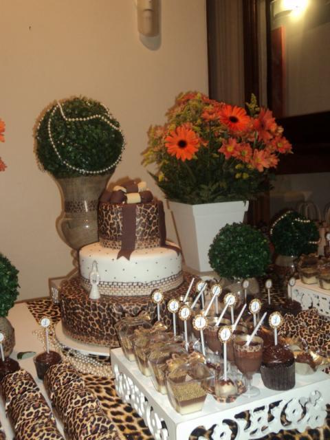 Festa 40 anos: decoração de oncinha com forminhas personalizadas