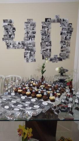 Festa 40 anos: decoração simples com fotos
