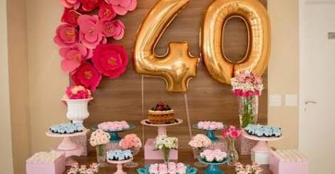 Festa 40 anos: decoração simples com balões de número
